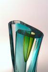 Double bubble lime turquoise cut vase